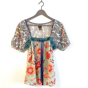 Anthropologie Fei Silk Paisley Top Square Neck